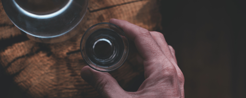 Man Drinking Strong Alcoholic Drink